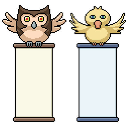 pixel art of bird holding scroll