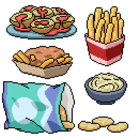 pixel art of potato snack food