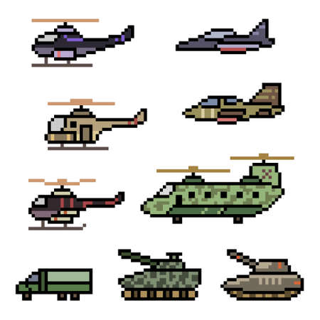 pixel art of military vehicle force