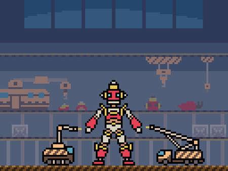 pixel art of robot building factory