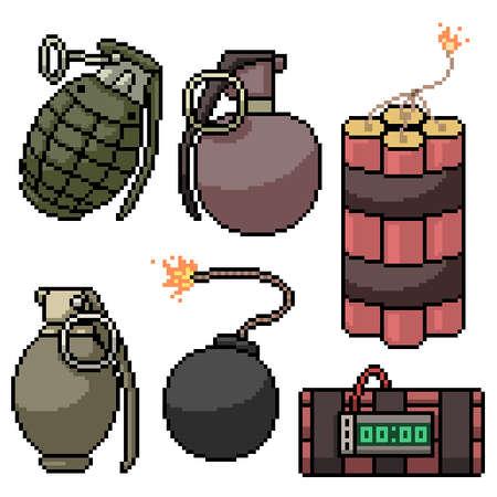 pixel art of various bomb weapon 矢量图像