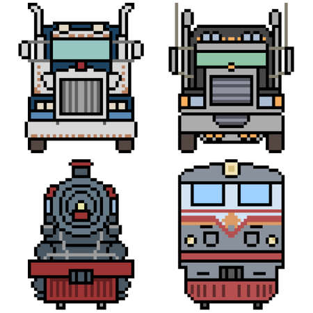 pixel art of truck and train front view