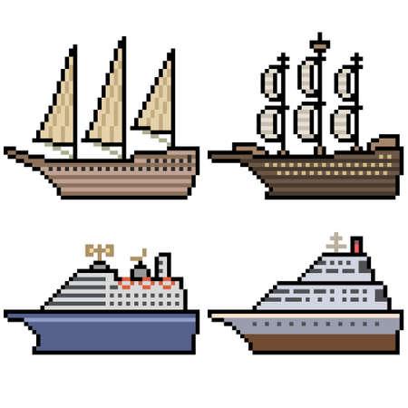 pixel art of big cruise ship 矢量图像