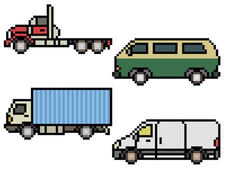 pixel art of truck and van side view