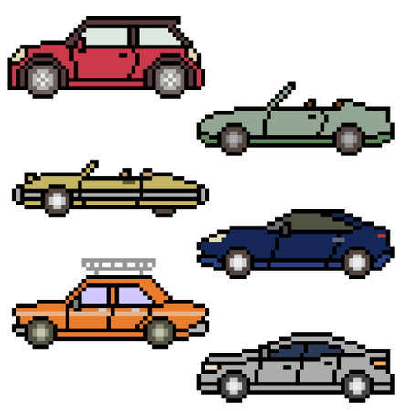 pixel art of various car side Illustration