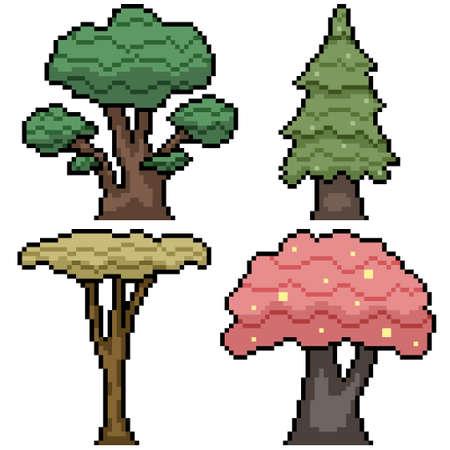 pixel art of various nature tree set Illustration