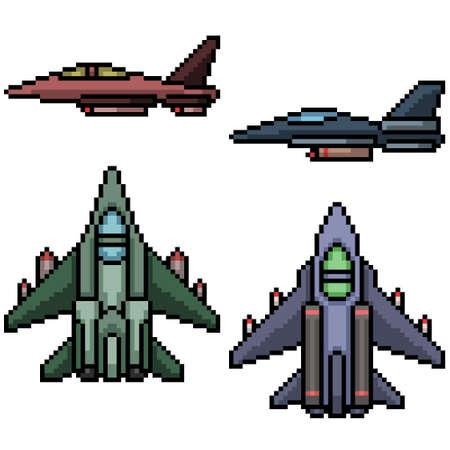 pixel art of military jet plane Illustration