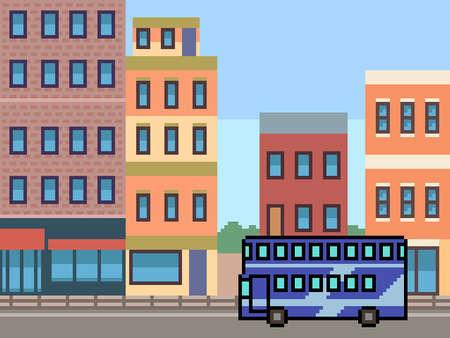 pixel art of city tour bus
