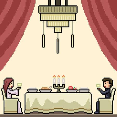 pixel art of luxury couple dinner