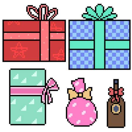 pixel art of present gift box 矢量图像