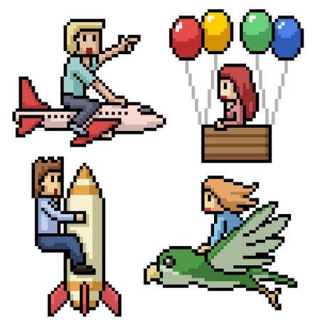 pixel art of people flying dream