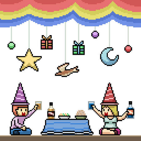 pixel art of fun couple party