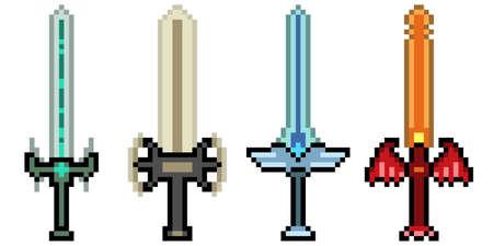 pixel art of fantasy sword weapon 矢量图像