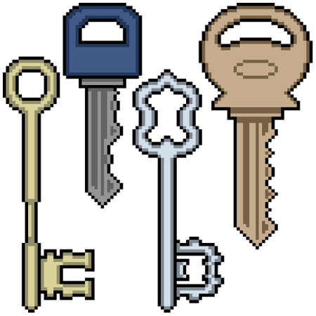 pixel art of various key
