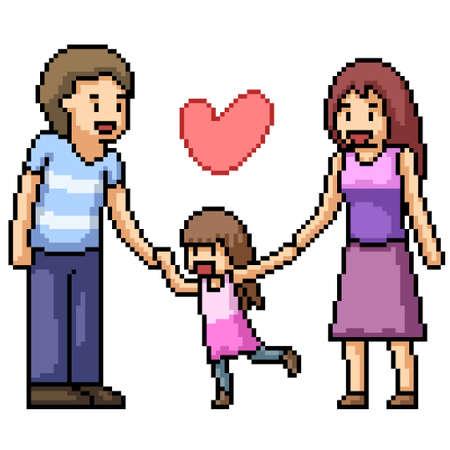 pixel art of warm happy family 矢量图像