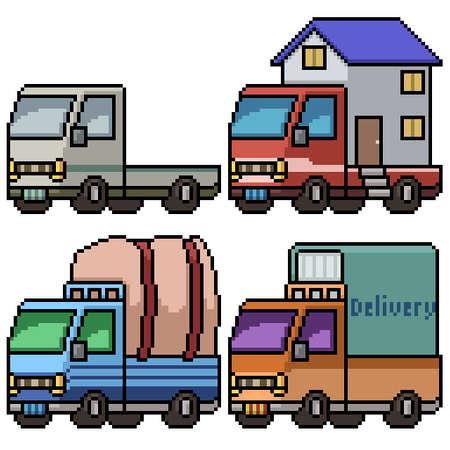 pixel art of big transport truck