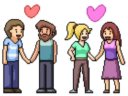 pixel art of lesbian gay couple 矢量图像