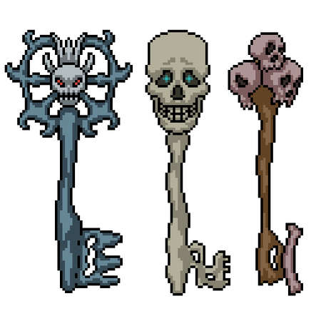 pixel art of fantasy skull key