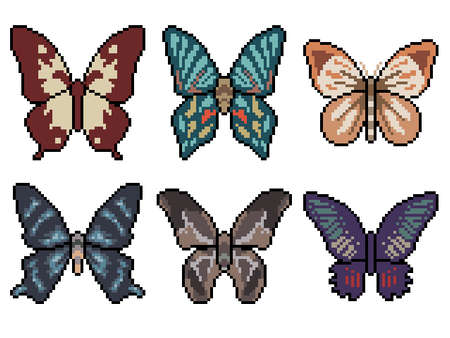 pixel art of butterfly top view 矢量图像