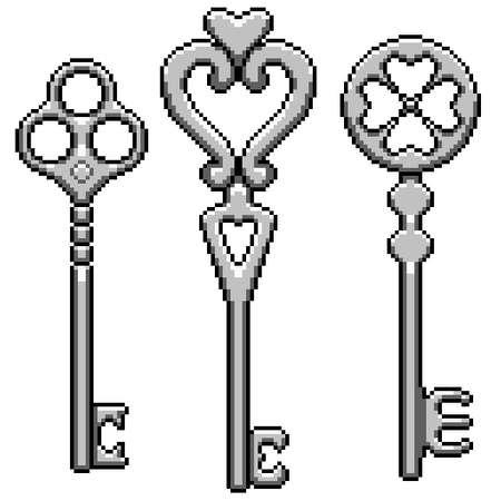 pixel art of fantasy metal key