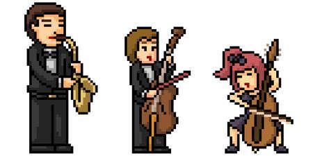pixel art of classic music band 矢量图像