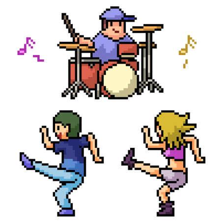 pixel art of teenager dancing party