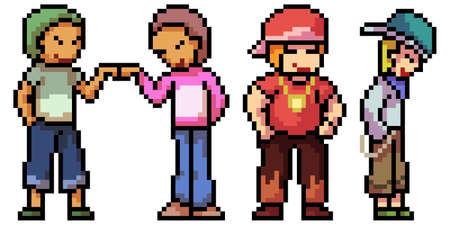 pixel art of teenager boy gang