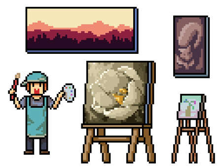 pixel art of traditional painting artist