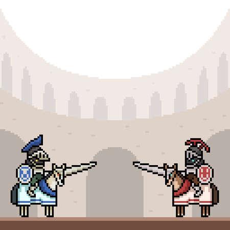 pixel art of knight dual arena