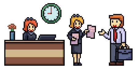 pixel art of office worker scene