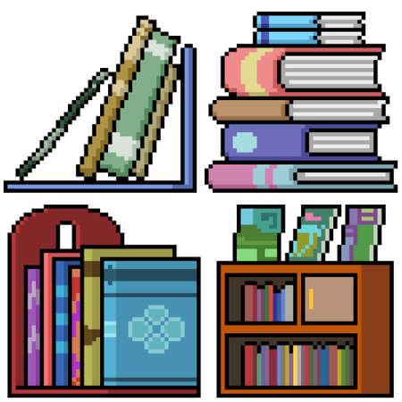 pixel art of book shelf stack