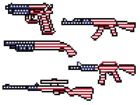 pixel art of american flag gun
