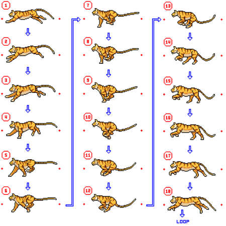 pixel art of tiger running animation loop