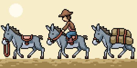 pixel art of donkey caravan travel