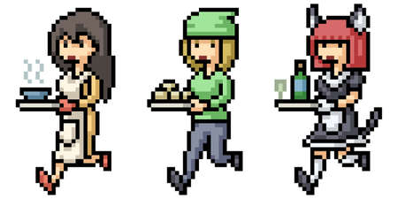 pixel art of house cleaning tools