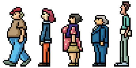 pixel art of people waiting in line