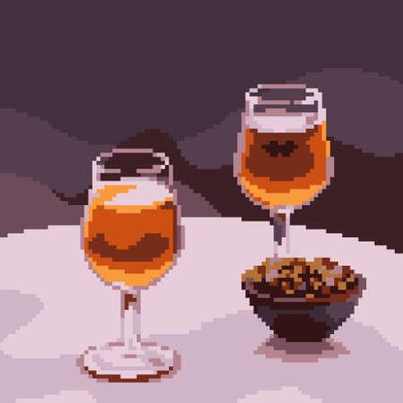 pixel art of luxury drink glass