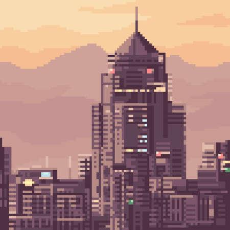 pixel art of city building sunset
