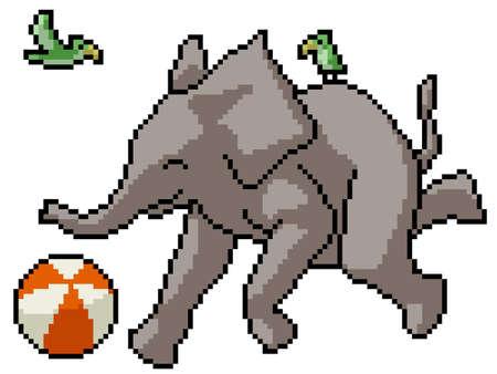 pixel art of happy elephant playing