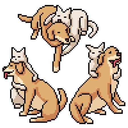 pixel art of cat dog hugging