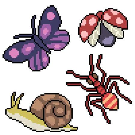 pixel art of small garden bugs