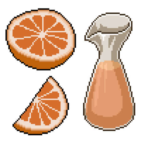 pixel art of fresh orange juice