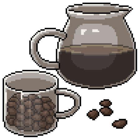 pixel art of coffee jar set