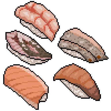 pixel art of japanese sushi set