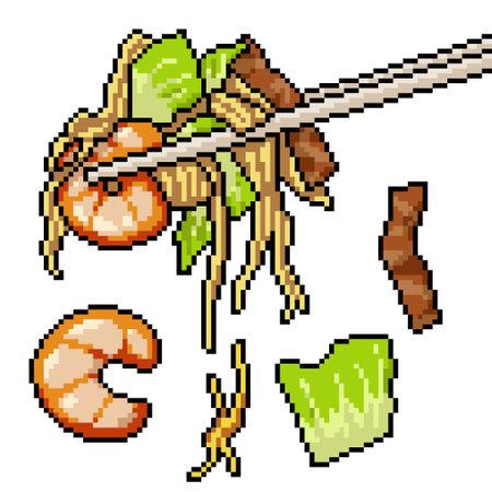 pixel art of asian noodle chopstick 矢量图像