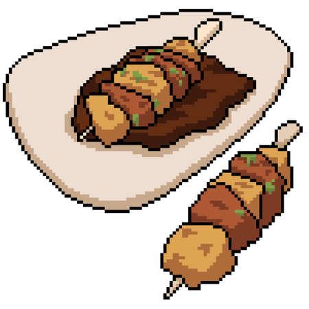 pixel art of meatball steak stick 矢量图像