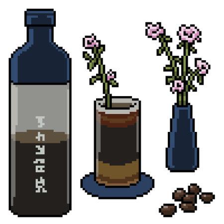 pixel art of luxury drink set