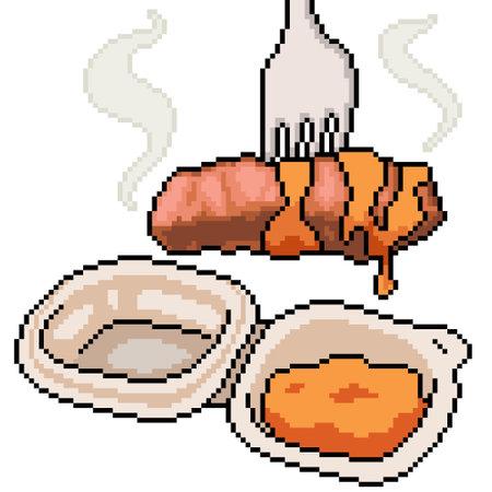 pixel art of food steak snack