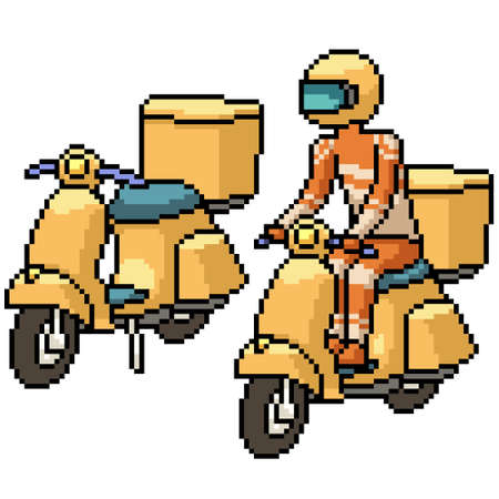 pixel art of delivery bike driver