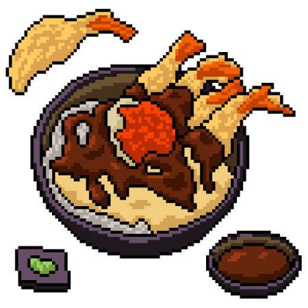 pixel art of japanese food bowl 矢量图像